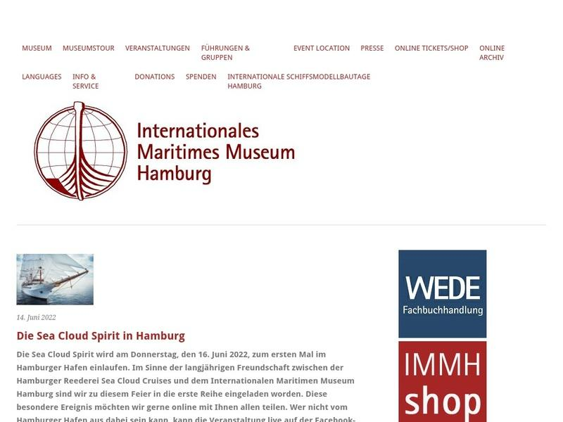Screenshot von http://www.internationales-maritimes-museum-hamburg.de