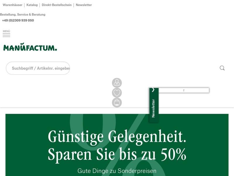 Screenshot von http://www.manufactum.de/home.html