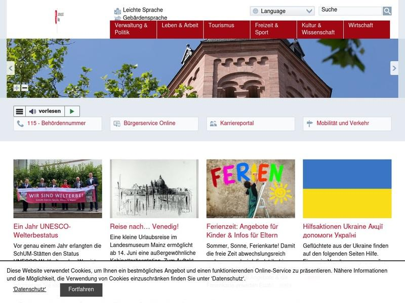 Screenshot von http://www.mainz.de